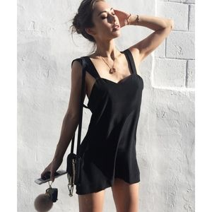 Are You Am I AYAI Auren Silk Slip Mini Black Dress